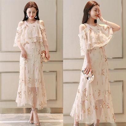 パーティードレス 結婚式 二次会 ワンピース 結婚式ドレス お呼ばれワンピース 20代 30代 40代 ロングドレス 袖あり シフォン