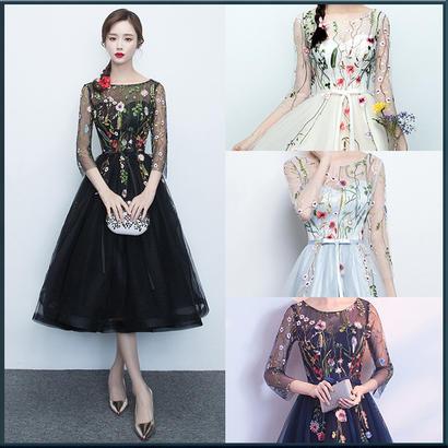 シースルー花柄レースブラックドレス