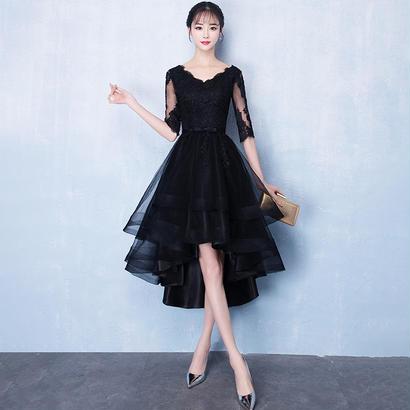 パーティードレス 結婚式 二次会 ワンピース 結婚式ドレス お呼ばれワンピース 20代 30代 40代 袖あり ショート 黒 花柄 レース シフォン