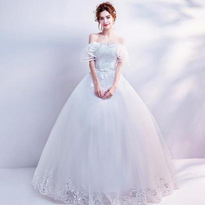 ウェディングドレスパーティードレスレース 花柄刺繍 ホワイト  結婚式 披露宴 演奏会 花嫁 写真撮影 舞台衣装 ロング丈