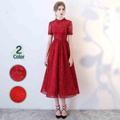 パーティードレス 結婚式 二次会 ワンピース 結婚式ドレス お呼ばれワンピース 20代 30代 40代 袖あり ひざ丈 赤 レース 花柄