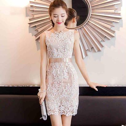 パーティードレス 結婚式 二次会 ワンピース 結婚式ドレス お呼ばれワンピース 20代 30代 40代 ミニ ピンク レース 花柄 刺繍
