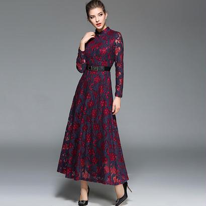 パーティードレス 結婚式 二次会 ワンピース 結婚式ドレス お呼ばれワンピース 20代 30代 40代 ロングドレス 袖あり 赤 レース 花柄