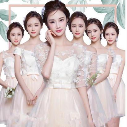 ブライズメイド パーティードレス 花嫁  結婚式 ニ次会 演奏会 司会者 ミニショットドレス ウェディングドレス