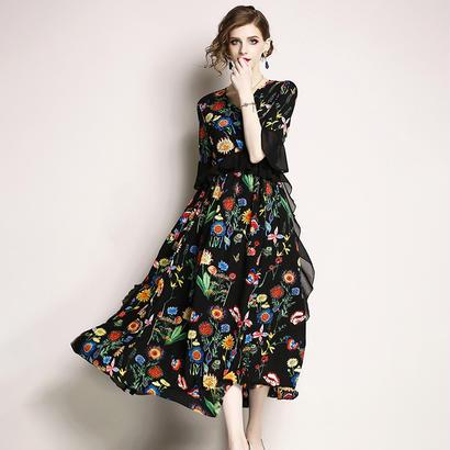パーティードレス 結婚式 二次会 ワンピース 結婚式ドレス お呼ばれワンピース 20代 30代 40代 袖あり ミモレ丈 黒 花柄
