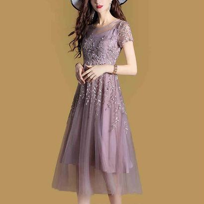 パーティードレス 結婚式 二次会 ワンピース 結婚式ドレス お呼ばれワンピース 20代 30代 40代 ロングドレス 袖あり ひざ下 ブルー 紫