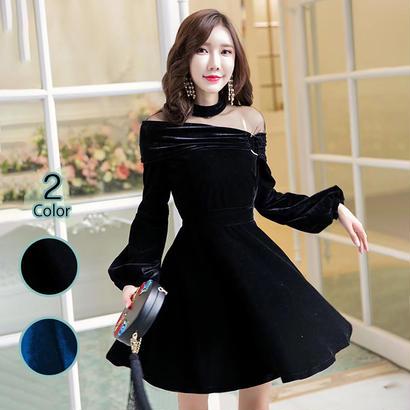 パーティードレス 結婚式 二次会 ワンピース 結婚式ドレス お呼ばれワンピース 20代 30代 40代 袖あり ショート 黒 ベロア