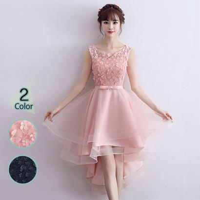 パーティードレス 結婚式 二次会 ワンピース 結婚式ドレス お呼ばれワンピース 20代 30代 40代 ショート 黒 ピンク レース シフォン