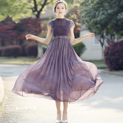 パーティードレス 結婚式 二次会 ワンピース 結婚式ドレス お呼ばれワンピース 20代 30代 40代 ロングドレス 袖あり 紫 黒