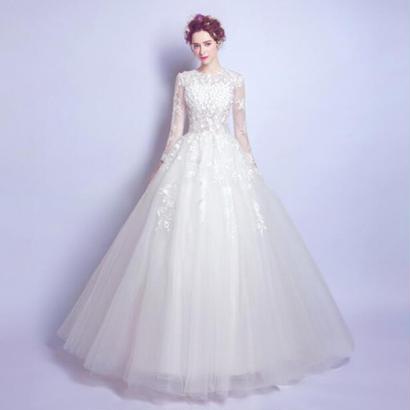 ウェディングドレス パーティードレス ビーズ 立体フラワー 結婚式 披露宴 舞台衣装 花嫁 写真撮影 ロング丈 袖あり