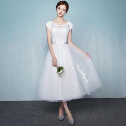 ミモレ丈ドレス ウェディングドレス ミモレ丈 レース 結婚式 白ワンピース 二次会 花嫁 編み上げタイプ 忘年会 エンパイア