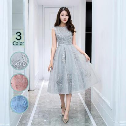 パーティードレス 結婚式 二次会 ワンピース 結婚式ドレス お呼ばれワンピース 20代 30代 40代 ミモレ丈 ピンク レース 花柄