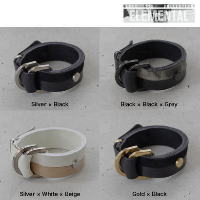 BI COLOR leather D bracelet