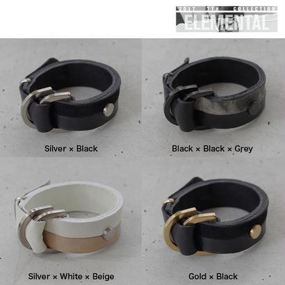 BI COLOR leather D bracelet