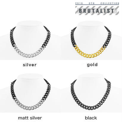 2 TONE CHAIN & LEATHER short necklace