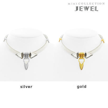 TUSK jewel choker (white × clear)
