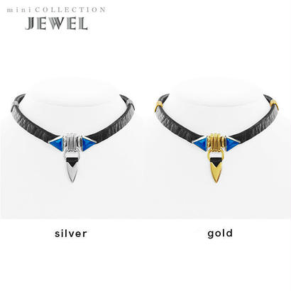 TUSK jewel choker (black × blue)