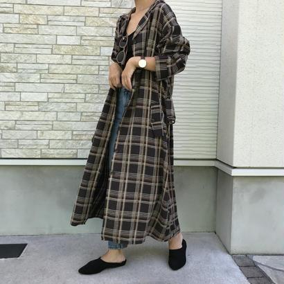 10/22入荷・ブラウンチェックロングシャツ