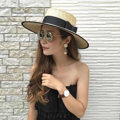 サイズ調節可能・ツバ広パイピングカンカン帽