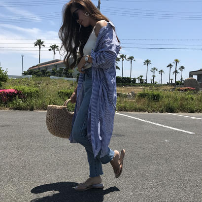 6/14入荷・cotton100%ストライプロングシャツ