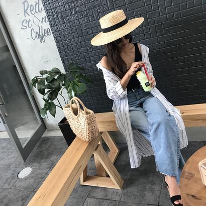 7/19入荷・cotton100%ストライプロングシャツ  ホワイト