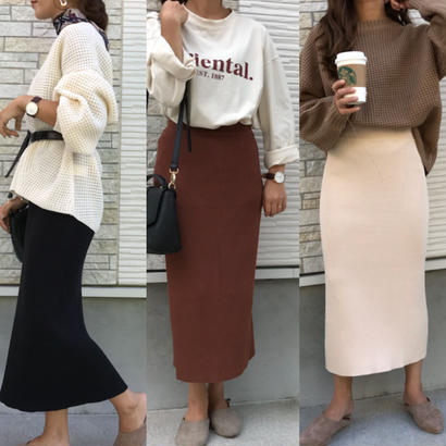 シンプルリブタイトスカート