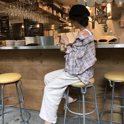 7/19入荷・cotton100%ヴィンテージ風ボリュームスリーブシャツ