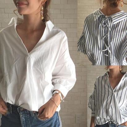 コットン100%バックスタイルが目を引くシンプルスキッパーシャツ