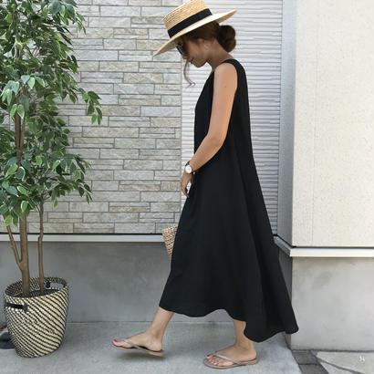 8/28発送・リネンブレンドシンプルワンピース