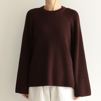 AURALEE / SUPER FINE WOOL RIB KNIT RAGLAN P/O (lady's/DARK BROWN)