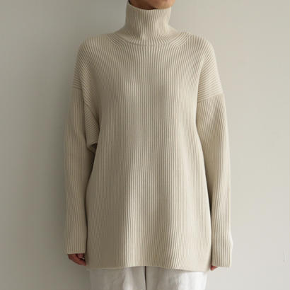 AURALEE / SUPER FINE WOOL RIB KNIT TURTLE NECK P/O (lady's/IVORY)