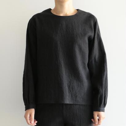 COSMIC WONDER / ラミーウールラウンドラグランスリーブのプルオーバーシャツ(lady's/BLACK)