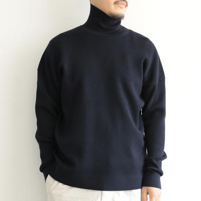 AURALEE / SUPER FINE WOOL SKI KNIT TURTLE  NECK P/O(men's/NAVY)