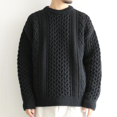 AURALEE / FRENCH MERINO ARAN KNIT P/O(men's/BLACK)