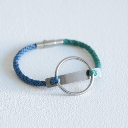 AOM / CIRCLE LINE BRACERET(STAINLESS LINE/Cerulean blue×Emerald green)