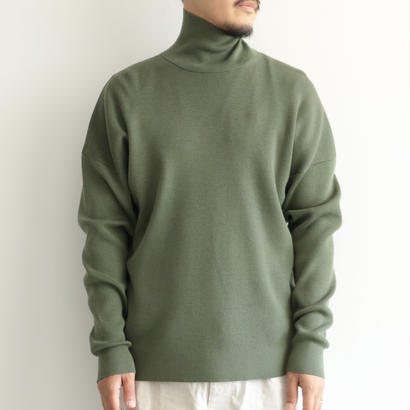 AURALEE / SUPER FINE WOOL SKI KNIT TURTLE  NECK P/O(men's/OLIVE)