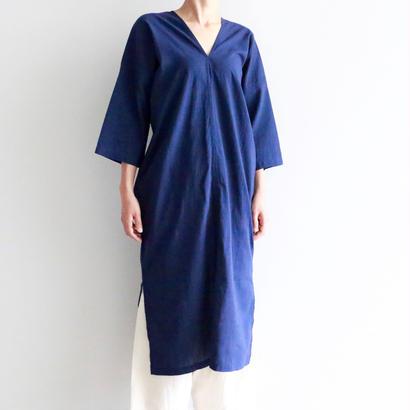 iroiro/NS Cotton Karen Dress -Three-quarter Sleeve-(navy)