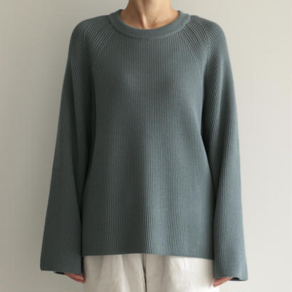 AURALEE / SUPER FINE WOOL RIB KNIT RAGLAN P/O (lady's/BLUE GRAY)