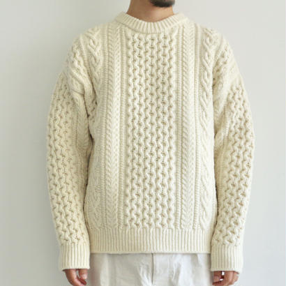 AURALEE / FRENCH MERINO ARAN KNIT P/O(men's/ECRU)