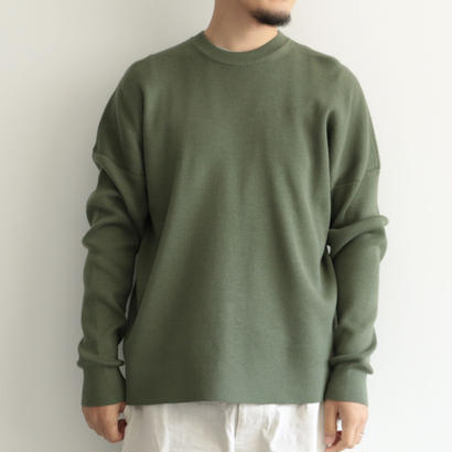 AURALEE / SUPER FINE WOOL SKI KNIT P/O(men's/OLIVE)