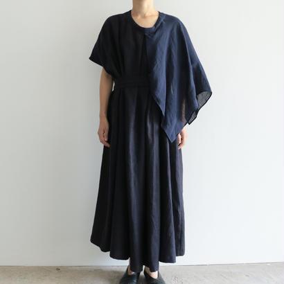 COSMIC WONDER /リネンのケープあるボックスタックギャザードレス (lady's/ NAVY)