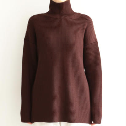 AURALEE / SUPER FINE WOOL RIB KNIT TURTLE NECK P/O (lady's/DARK BROWN)