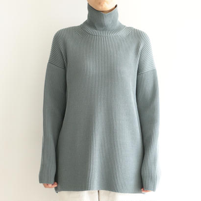 AURALEE / SUPER FINE WOOL RIB KNIT TURTLE NECK P/O (lady's/BLUE GRAY)