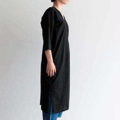 iroiro/NS Cotton Karen Dress -Three-quarter Sleeve-(black)
