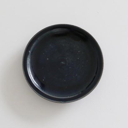 田谷直子/6寸皿リム(黒瑠璃)
