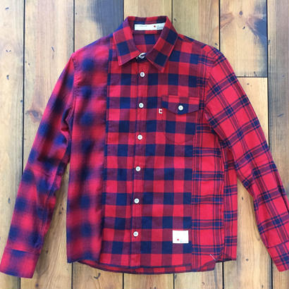 INDIGO CHECK SHIRT CRAZZY【RED】/ BS17AW-SH12