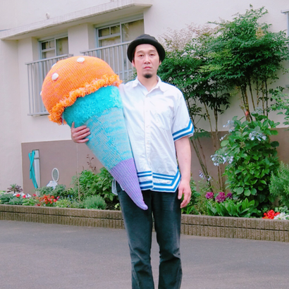 Big  Knit Ice Cream ビッグアイスクリーム  [ ORANGE ×  SKY Blue] NO.3/203gow