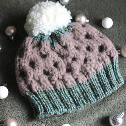Honeycomb knit beanie/203gow