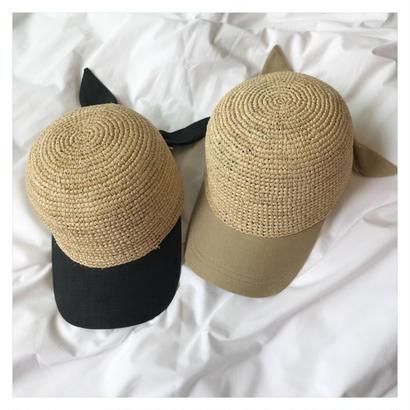 straw ribbon cap (2color)