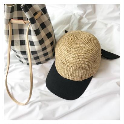 [数量限定] straw ribbon cap (2color)